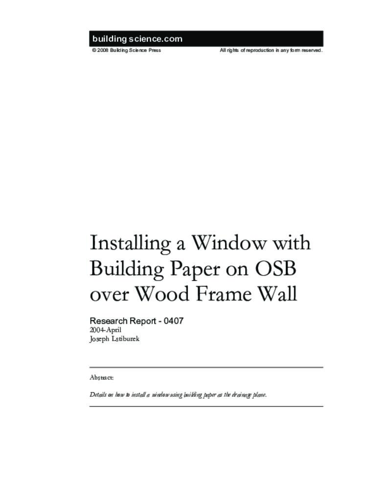RR-0407: Installing a Window with Building Paper on OSB over Wood