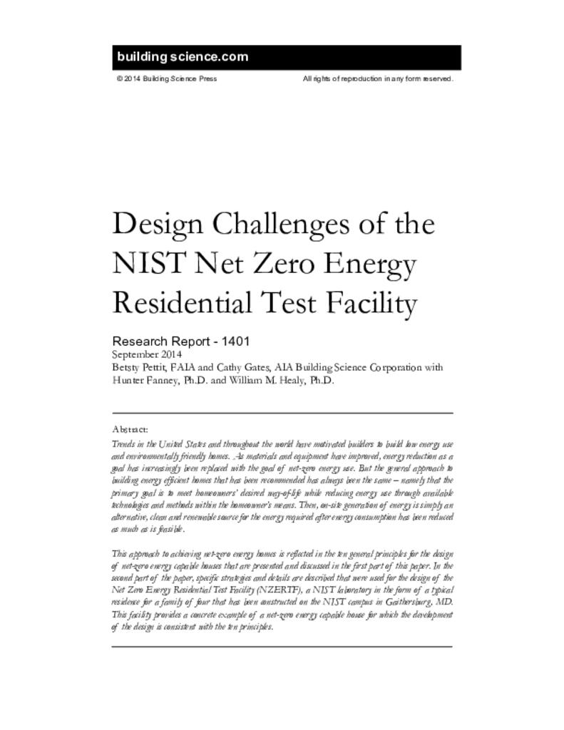 Rr 1401 design challenges of the nist net zero energy residential rr 1401 design challenges of the nist net zero energy residential test facility 1betcityfo Choice Image