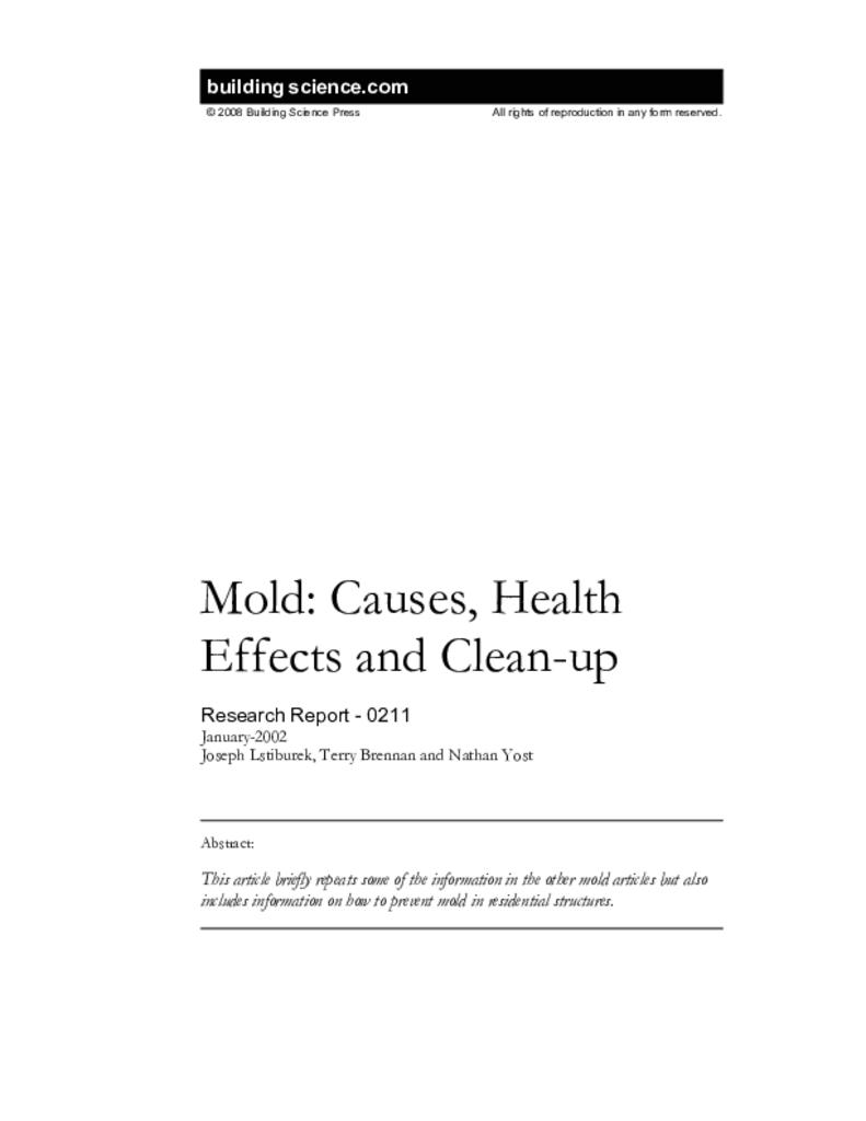 RR-0211: Mold—Causes, Health Effects and Clean-up | Building
