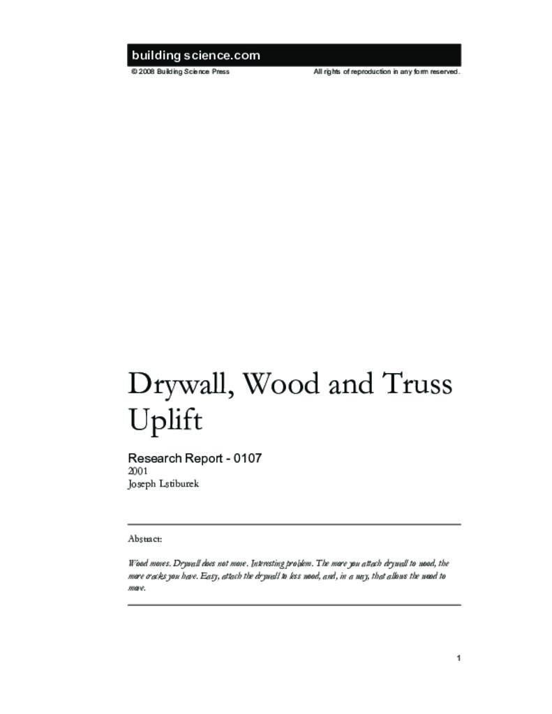 RR-0107: Drywall, Wood and Truss Uplift   Building Science