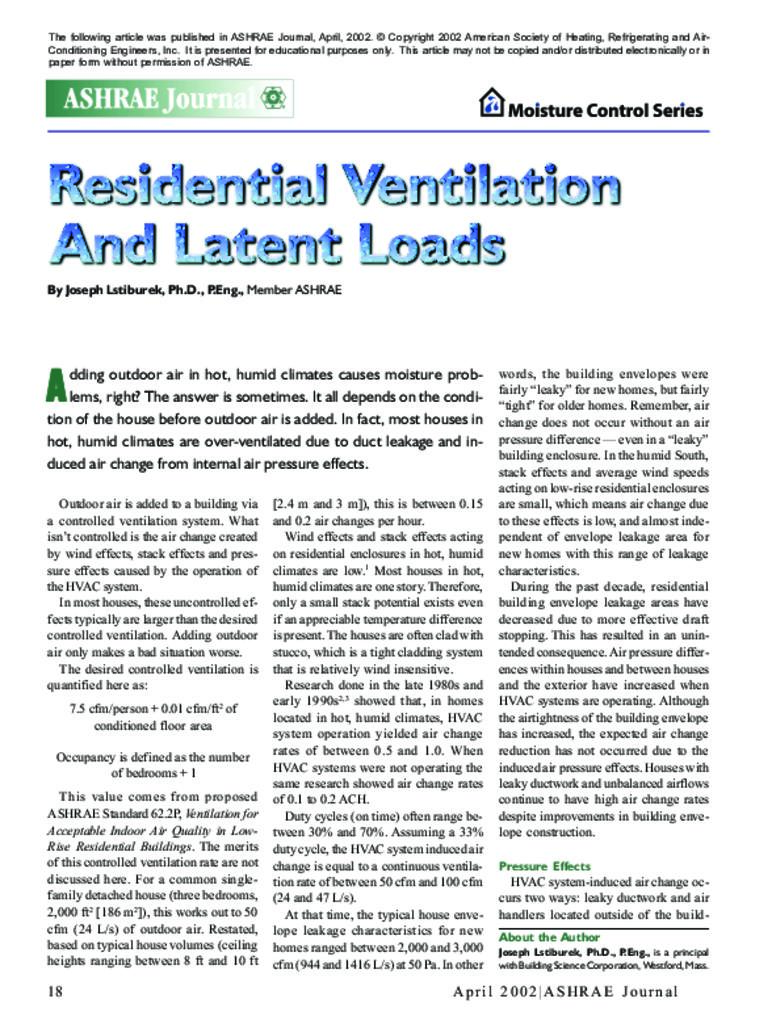PA-0202: Residential Ventilation and Latent Loads | Building