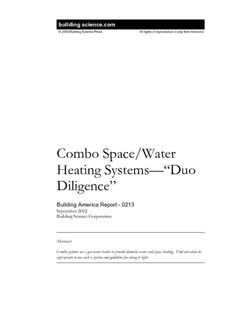 BA-0213: Combo Space/Water Heating Systems—\