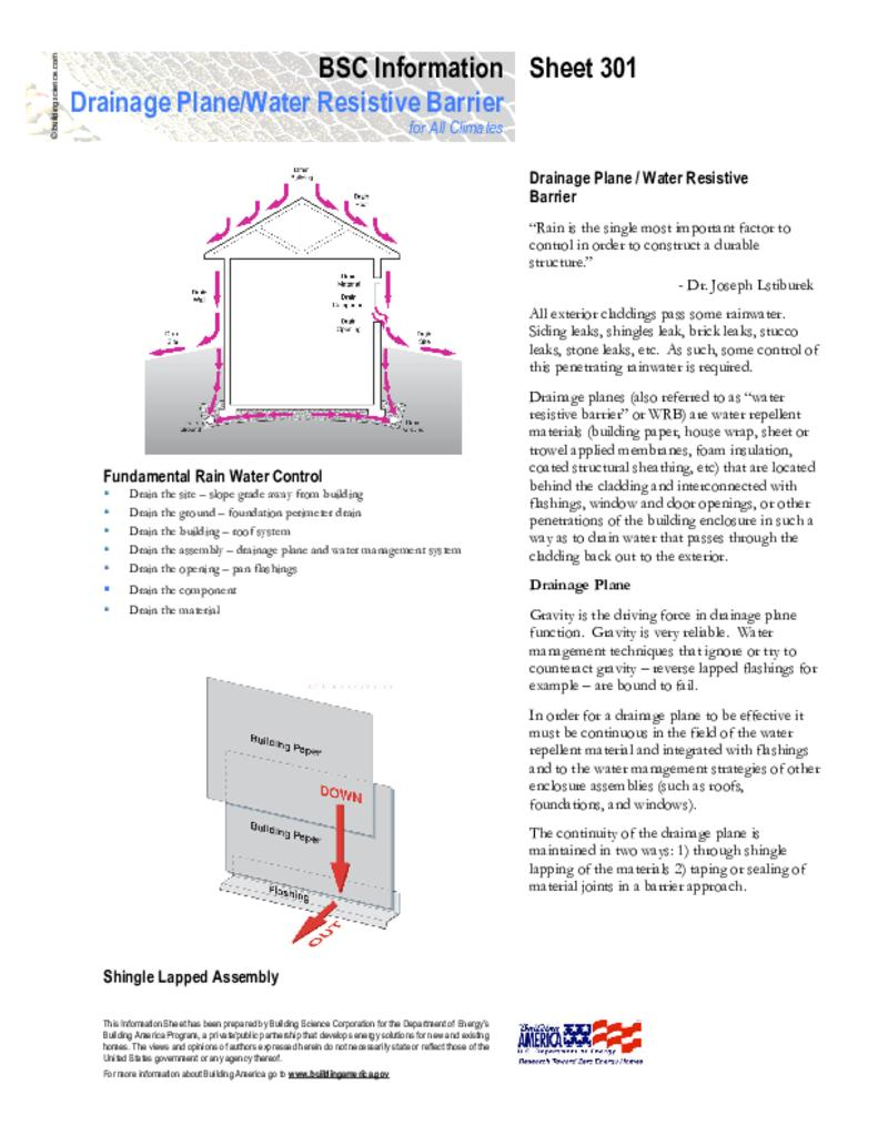 Info 301 Drainage Plane Water Resistive Barrier