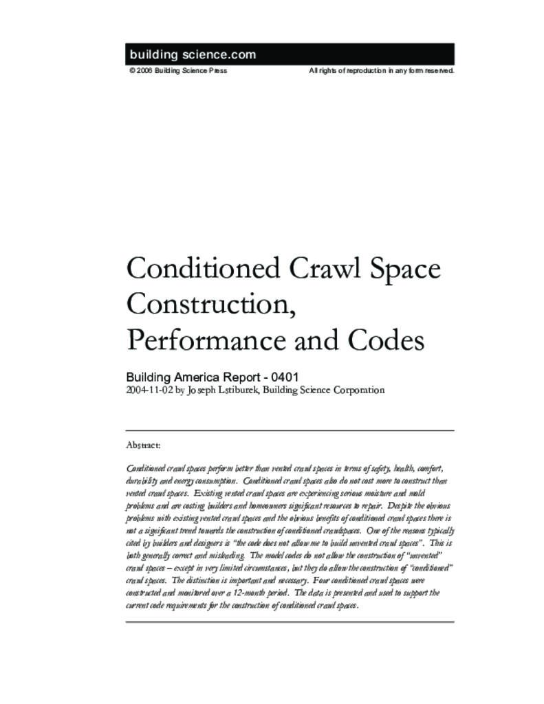 Ba 0401 Conditioned Crawle Construction Performance And Codes
