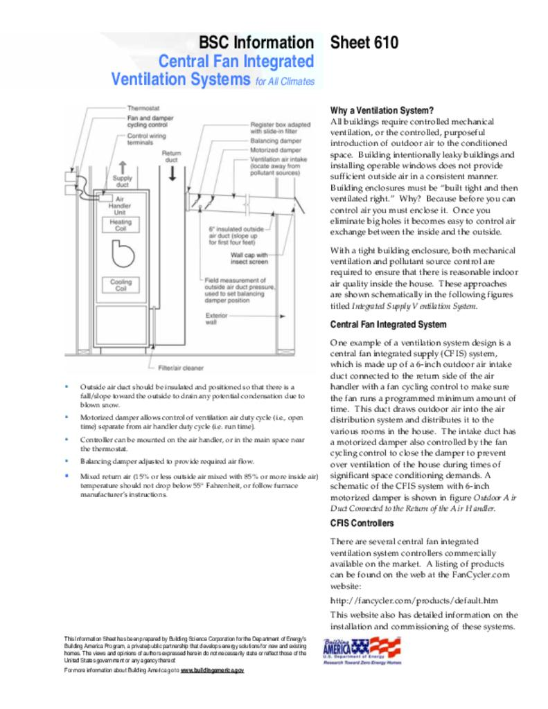 Info-610: Central Fan Integrated Ventilation Systems