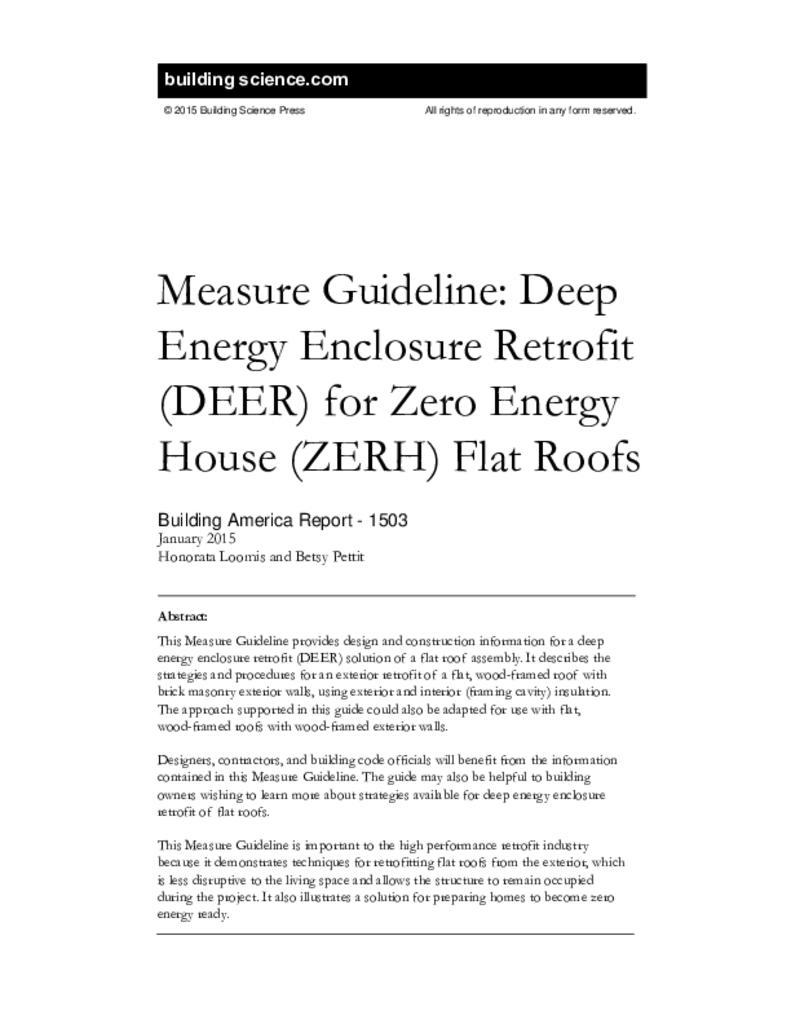 BA-1503: Measure Guideline—Deep Energy Enclosure Retrofit (DEER) for