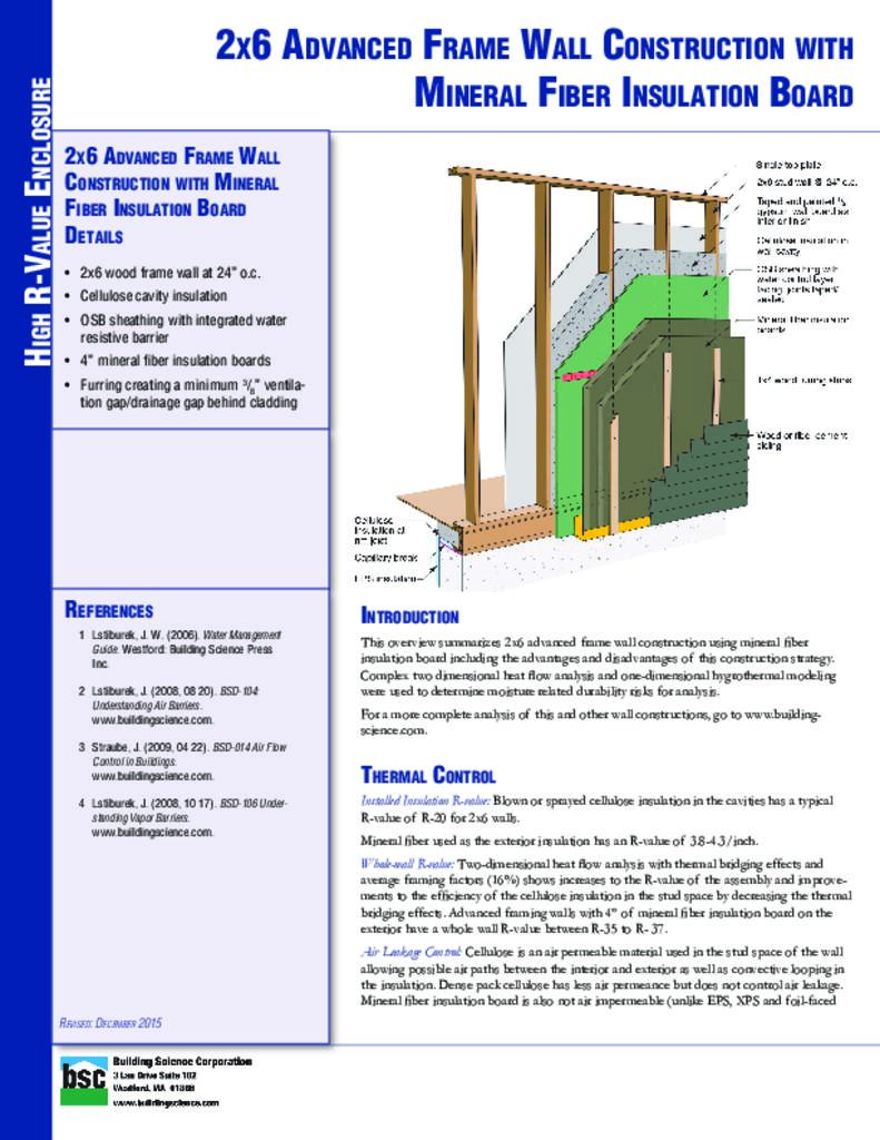 Etw Wall 2x6 Advanced Frame Wall Construction With Mineral Fiber