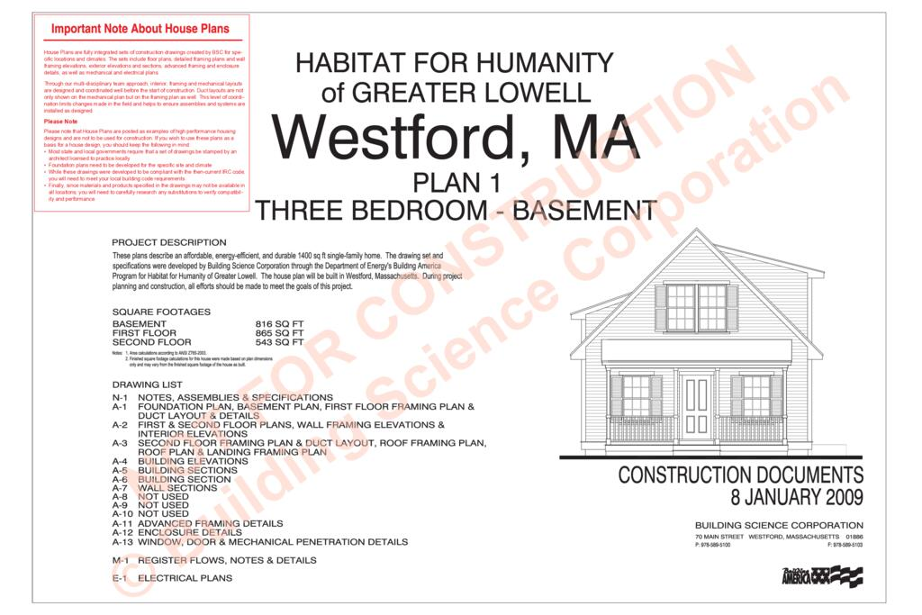 DTW Westford MA Habitat for Humanity House Plan Building