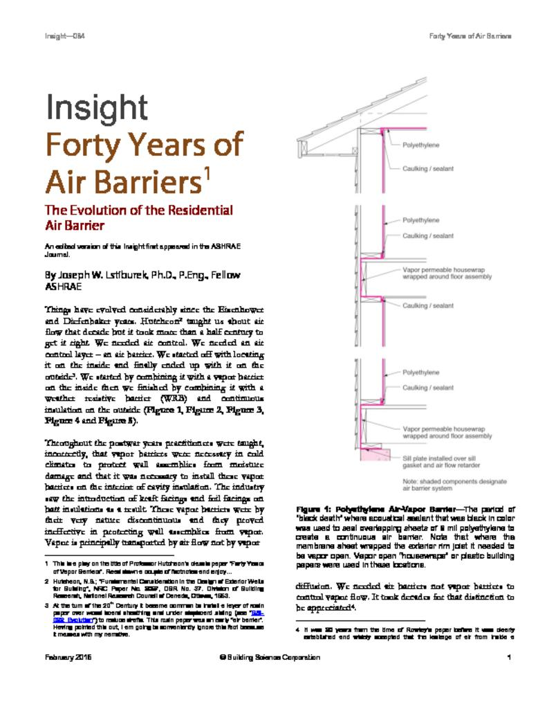 BSI-084: Forty Years of Air Barriers*—The Evolution of the