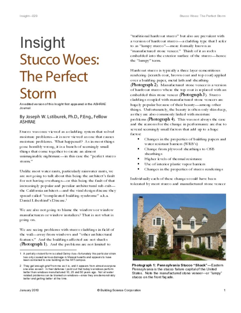 Stucco Woes: The Perfect Storm   Building Science Corp