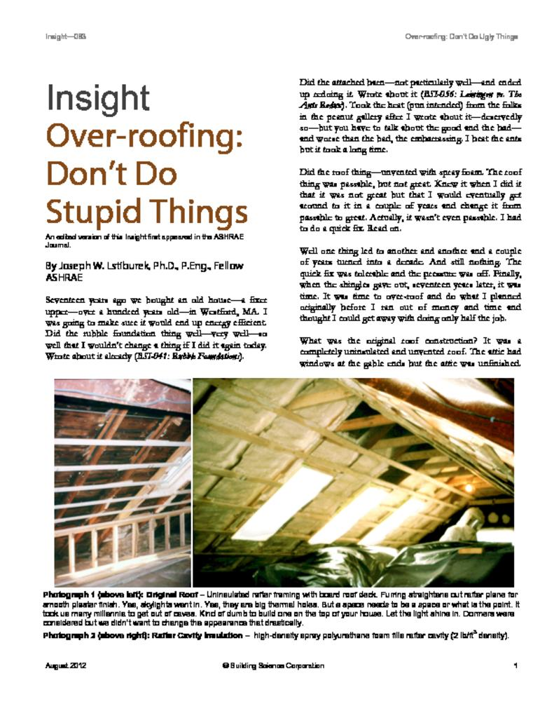 Attaching deck to house building science - Bsi 063 Over Roofing Don T Do Stupid Things