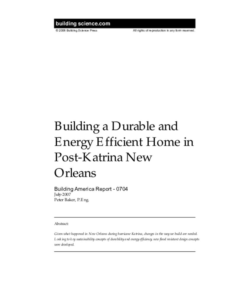 Ba 0704 Building A Durable And Energy Efficient Home In Post