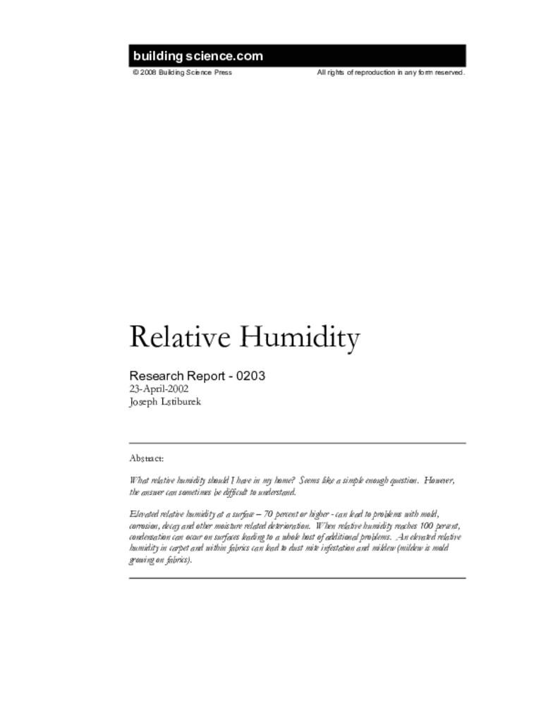 Rr 0203 Relative Humidity Building Science Corporation