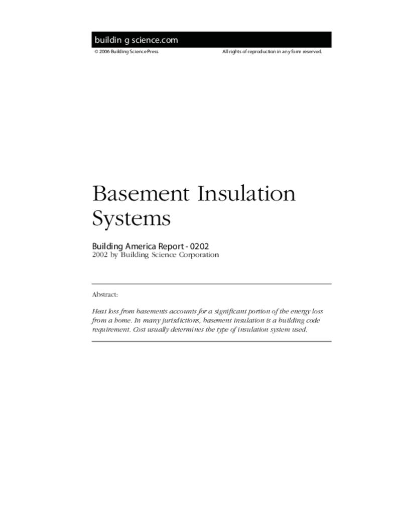 ba 0202 basement insulation systems building science