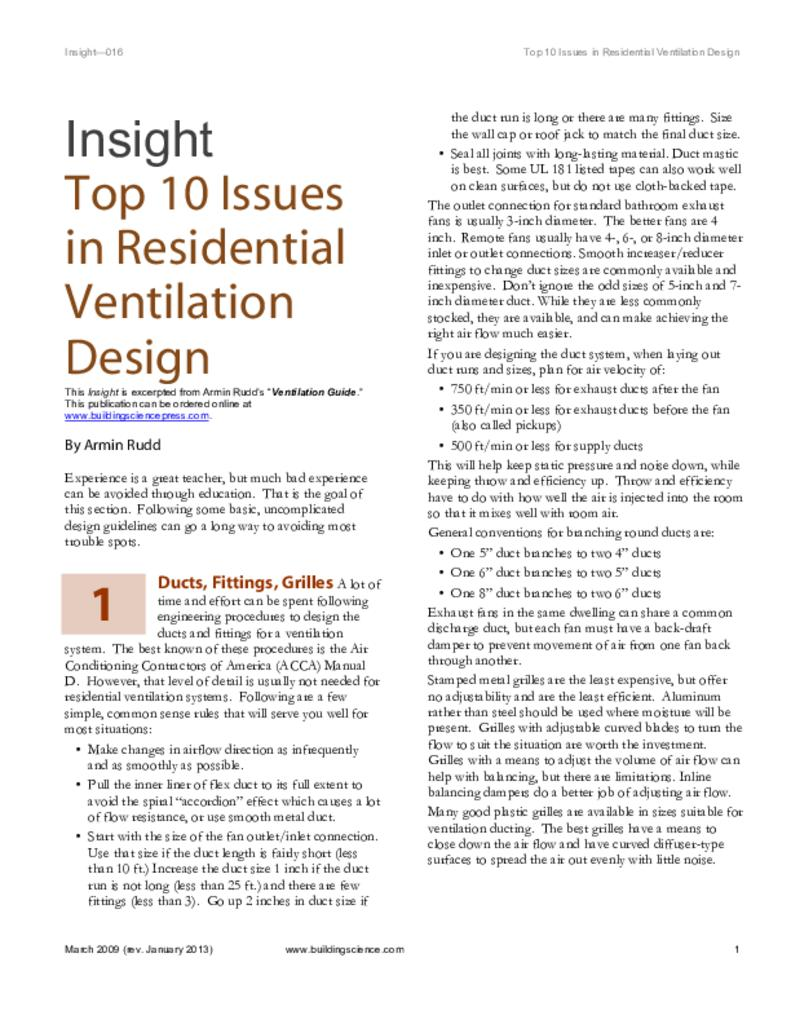 Top Ten Issues in Residential Ventilation Design | BSC