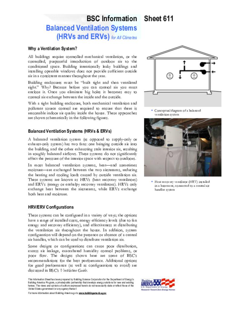 Balanced Ventilation Systems | Building Science Corporation
