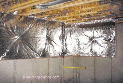 photograph 3 blanket insulation with impermeable vinyl interior surface