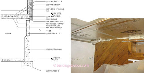 Figure 4 Basement ceiling insulation and air sealing plan and completed image  sc 1 st  Building Science Corporation & BA-1108: Hybrid Foundation Insulation Retrofits: Measure Guidelines ...