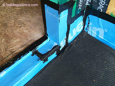 Photograph 5: Drainage Matt\u2014Membrane waterproofing is stripped into the pan flashed balcony door opening. Note the drainage mat installed over the top of ... & BSI-093: All Decked Out* | Building Science Corporation Pezcame.Com